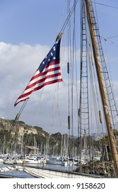 American Flag on passing Tall Ship in Dana Point