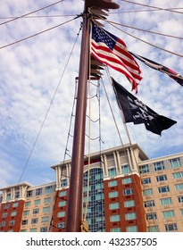 American flag on a pirate ship