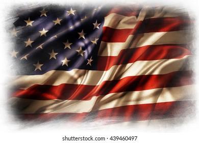 American flag on plain background