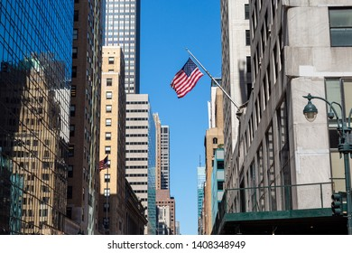 American flag on a pole in Manhattan, New York City.