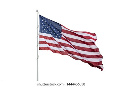 American flag on a pole waving, white background. US of America symbol sign isolated on white