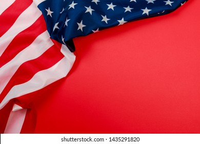 American flag on red background  top view - Image