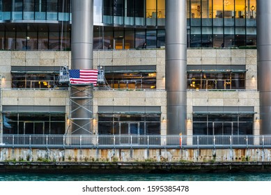 American flag on a riverside building, Chicago, Illinois, USA