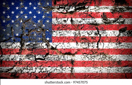 American Flag on rock background