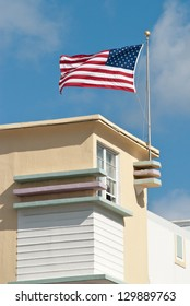 The american flag on the roofs of Miami Beach Houses