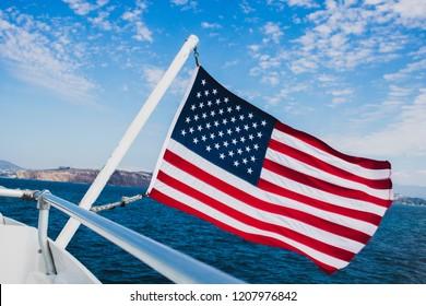 American flag on ship, California