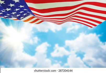 American flag on sky background . USA election