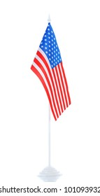 American flag on the stand isolated on white