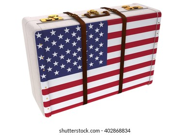 American flag on a suitcase on white background