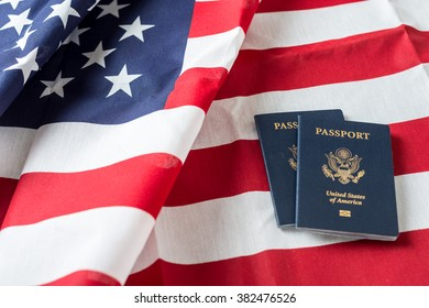 American flag on top of American Passports