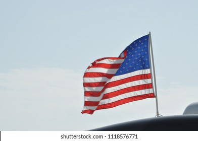 American Flag on top of an RV