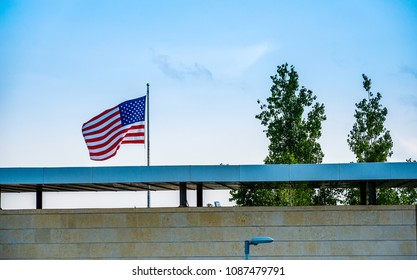 American flag on top of the US consulate building, just before the move of the United States embassy to Jerusalem