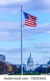 American Flag on Us Capital Building Background.