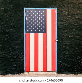 American flag on the wall