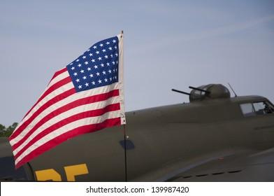 American flag on american war craft