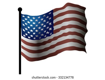 American flag on a white background.
