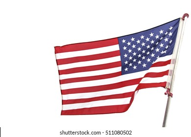 American flag on white background