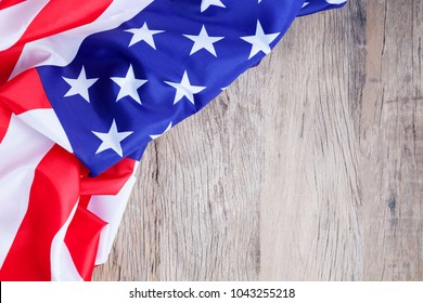 American flag on wood background for add text Memorial Day or 4th of July