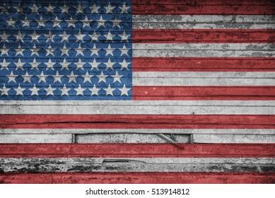American flag on wood texture