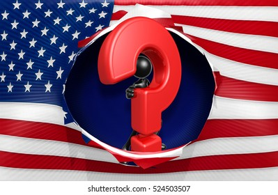 American Flag With The Original 3D Character Illustration And A Question