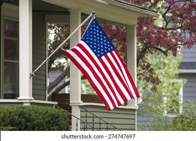 An American flag out in the spring time.