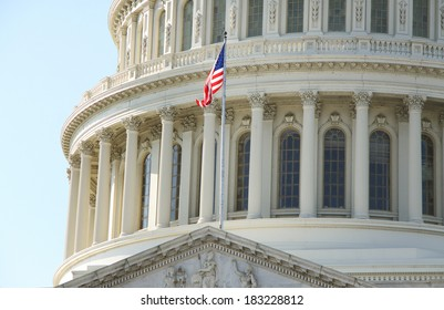 American Flag over the Capitol in Washington, DC