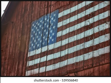 American Flag painted barn