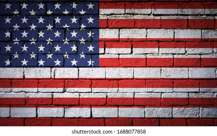 American flag painted on a brick wall texture