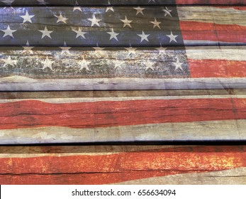 American flag painted on the old wooden wall