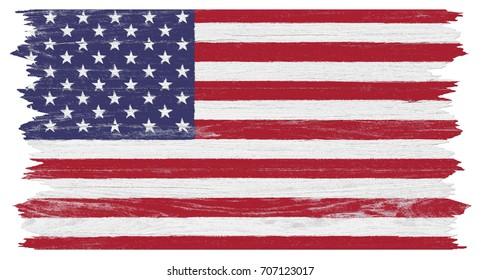 American flag painted on old wood plank background.