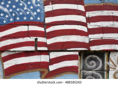 American flag painted on wall