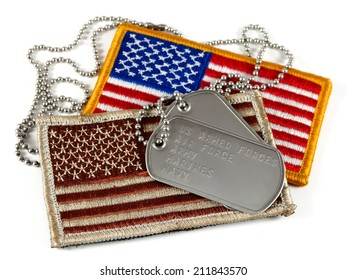 American flag patches and dog tags