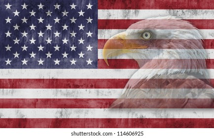 American flag with patriotic symbols of the United States of America