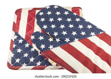 American flag pattern kitchen gloves heat resistant.