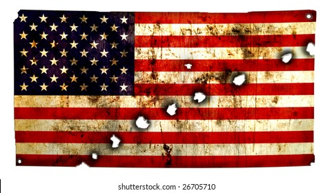 American Flag perforated, grunge, bullet holes