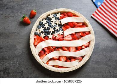 American flag pie on grey background