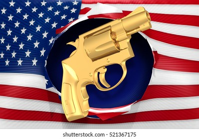 American Flag With A Pistol Concept 3D Illustration