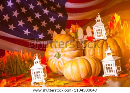 17e6a742ae47 American flag. Pumpkins. Autumn in America. A rich harvest of pumpkins.  Halloween