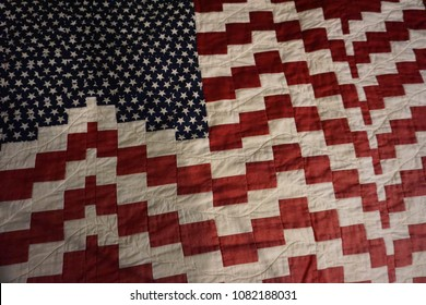 American flag quilt for Memorial Day and 4th of July.  Holiday of fourth, Independence Day, Memorial Day, patriots love USA. Enjoy and be proud of country and freedom.  Quilters artwork. Happy holiday