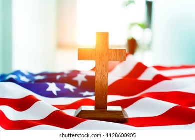 American flag and religious cross.