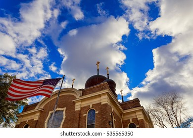 American flag and religious cross at sunset American Flag Church