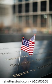 American Flag in remembrance at the 9/11 memorial in New York City