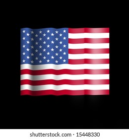 American flag with ripples on black illustration