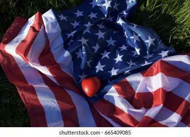American flag. Selective focus