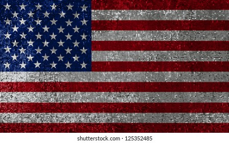 American flag, sequin texture