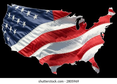 American flag shaped as a map. Lightly outlined in white for easy separation.