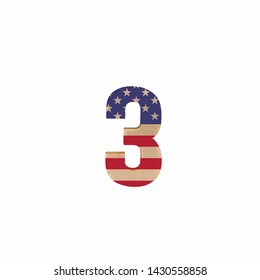 American flag stamped on Number three made of wood on isolated white background