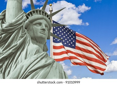 American Flag, and Statue of liberty