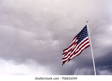 American Flag in Stormy Weather