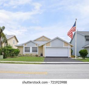 American Flag suburban home Florida USA